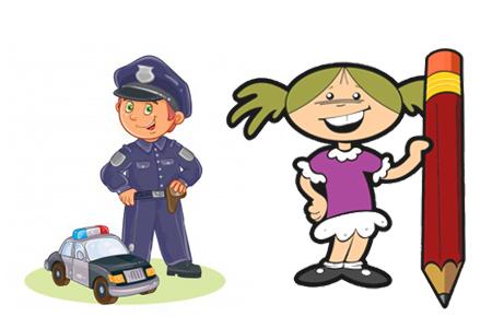 آشنایی با مشاغل معلم، پلیس، نقاش و نویسندگی برای کودکان